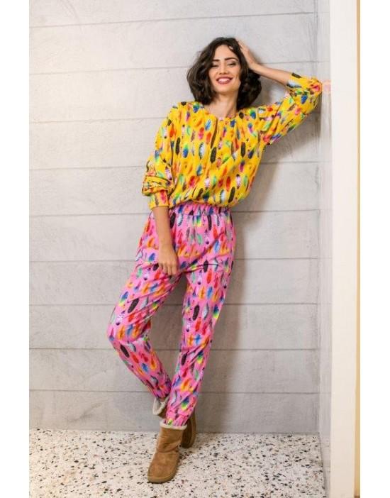 Pantaloni Feathers on Pink